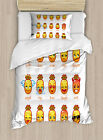 Emoji Duvet Cover Set with Pillow Shams Funny Face Pineapples Print