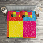 Colorful Quilted Coverlet & Pillow Shams Set, Vibrant Rainbow Colors Print image