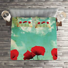 Poppies Quilted Coverlet & Pillow Shams Set, Flowers Spring Season Print image