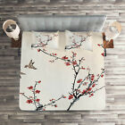 Floral Quilted Coverlet & Pillow Shams Set, Asian Style Art Birds Print