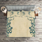 Beige Teal Quilted Coverlet & Pillow Shams Set, Vintage Peacock Bird Print