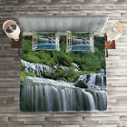 Waterfall Quilted Coverlet & Pillow Shams Set, Majestic Paradise Print image