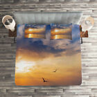 Nature Quilted Coverlet & Pillow Shams Set, Early Morning Sunrise Print image