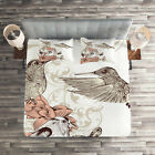 Vintage Quilted Coverlet & Pillow Shams Set, Birds Butterflies Art Print