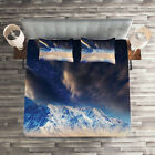 Nebula Quilted Coverlet & Pillow Shams Set, Snowy Winter Mountains Print image