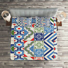 Polka Dots Quilted Coverlet & Pillow Shams Set, Colorful Shapes Print image