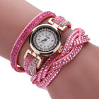 Women Casual Watch Bracelet Crystal Leather Dress Analog Quartz Wrist Watches