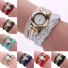Women Casual Watch Bracelet Crystal Leather Dress Analog Quartz Wrist Watches image