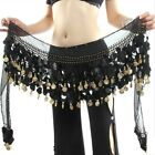 3 Rows Belly Dance Costume Hip Scarf Tribal Hip Belt Skirt Gold Coins US