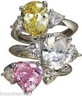 New Avon Fancy Shape Silver PINK HEART CZ Trillium Cocktail RING 5,6,7,8,9,10,11