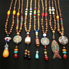 Retro Wood Beads Necklaces Stone Pendant Long Sweater Necklace Women Jewelry Zn