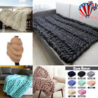 Hand-woven Bulky Soft Chunky Knit Blanket Thick Yarn Bedding Sofa Knitted Throw image