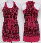 Singer Reggae Print Soft Stretch COTTON Mini Tank DRESS Tunic TOP Size S Small
