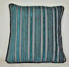 turquoise teal and grey stripe modern pillows handmade usa for sofa or chair