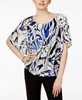 Alfani Petite Printed Textured-Mesh Bubble Top Blue Black PS