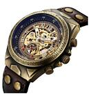 Men'S Automatic Mechanical Leather Belt Steampunk Bronze Steel Skeleton Watches image