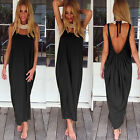 Women Long Maxi Dress Loose Backless Summer Beach Evening Party Vintage Sundress