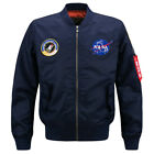 Men's Thick Jacket US NASA  Warm Winter MA1 Flight Bomber Coat Baseball Outwear
