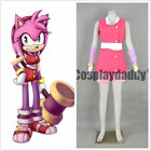 Sonic Boom Team Sonic Amy Rose the Hedgehog Pink Outfit Cosplay Cos