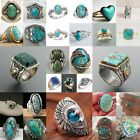 Wholesale Handmade 925 Silver Turquoise Ring Women Men Vintage Jewelry Size 6-12 image