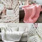 Soft Warm Handmade Chunky Knitted Wool Blanket Sofa Thick Yarn Bulky Throw  image