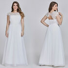 US Women White Chiffon Wedding Dresses A-line Beaded Cap Sleeve Dresses 09993 фото