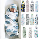 Kyпить US 2PCS Newborn Baby Girl Boy Swaddle Wrap Blanket Sleeping Bag+Hat Outfits Set на еВаy.соm