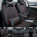 US PU Leather Car Seat Cover Cushions Full Set 5 Seats SUV FrontRear All Season