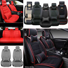 US PU Leather Car Seat Cover Protector Cushion Full Set 5 Seats Universal Deluxe