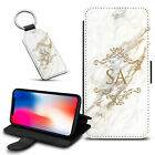 Marble Personalised PU Leather Wallet Case & Keyring For Various Mobiles - 61