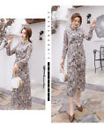 Women's fashion new pleated long sleeve rose floral dress KREDM484#