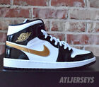 Nike Air Jordan 1 Mid SE Black Patent Leather Gold White 852542-007