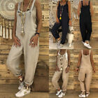 Women Sleeveless Loose Jumpsuit Romper Dungarees Overall Casual Trousers Pants