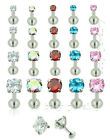 16G Surgical Steel Prong Set CZ Internally Threaded Earring Labret Monroe Tragus image
