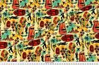 International Exotic James Bond Red Yellow Fabric Printed by Spoonflower BTY $17.5 USD on eBay