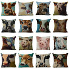 "Linen Oil Painting Cow Pillow Case Sofa Car Waist Cushion Cover Home Decor 18"" image"