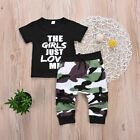 Kids Letters Printed Tops Children Clothes Set T-shirt + Shorts Camouflage Pant