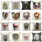Skull Sofa Cushion Cover Throw Pillow Case Linen Cotton Pillow Cover Home Decor image