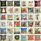 "18"" Merry Christmas Cotton Linen Home D cor Sofa Pillow Case Cushion Cover Decor"