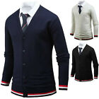 Mens Stylish Color Point Solid Knit Cardigan Jumper Casual Jacket Top E17 S/M