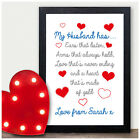 PERSONALISED 1st First Wedding Anniversary Gifts for Husband Birthday Present