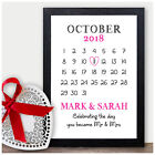 PERSONALISED 1st Wedding Anniversary Calendar Date Gifts for Husband Wife Mr Mrs