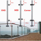 Stainless Steel Balustrade Posts Mid/Corner End Grade 304 Glass W/ Clamps+Base