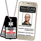 Medical Alert Tag Necklace Emergency Identity SOS SMS ICE Pendant Talisman Black