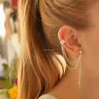 Women's 925 Sterling Silver Punk Chain Tassel Dangle Ear Cuff Clip Wrap Earrings