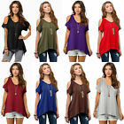 US Women Cold Shoulder T-Shirt Tops Short Sleeve Summer Tunic Tee Shirts Blouse