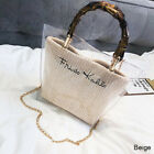 Luxury Design PVC Straw Bag Bamboo Handle Shoulder Bags Summer Beach Crossbody
