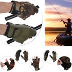 Fish Equipment Neoprene Cloth Fishing Gloves 3 Finger Cut Breathable PU Leather