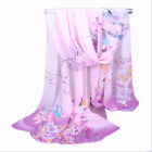 Women's Peony Flower Series Magpie Chiffon Printed Scarf Long Scarf Summer Shawl