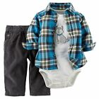 Carter's Baby Boy cute husky bodysuit blue checker shirt corduroy pants 3pc set
